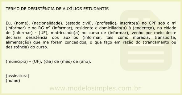 Modelo Desistência De Curadoria Trabalhos De Casa November