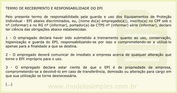 ed0e6c560f31a Modelo de Termo de Recebimento e Responsabilidade do EPI