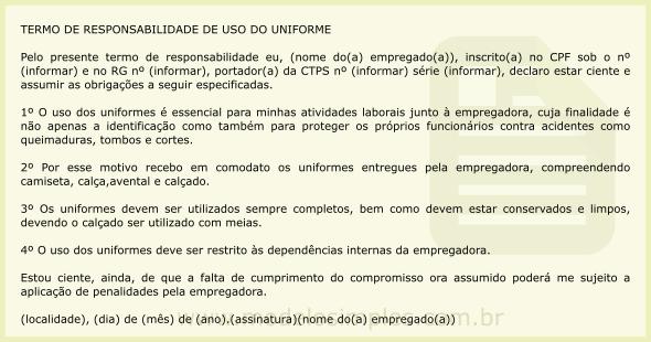 Modelo de Termo de Responsabilidade de Uso do Uniforme 36d12b5e867f3