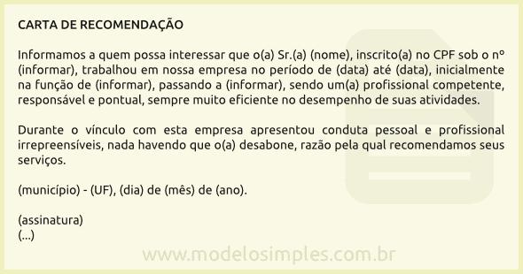 modelo de carta de recomenda u00e7 u00e3o