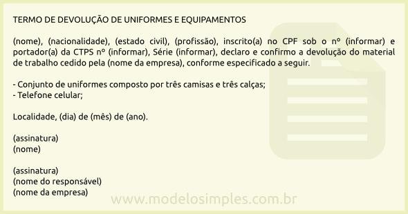 f8d0dccc0bc66 Modelo de Termo de Devolução de Uniformes e Equipamentos